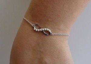 【送料無料】ブレスレット アクセサリ― センターチェーンブレスレットスターリングシルバーinfinity sign center chain bracelet w white pearls 925 sterling silver 7