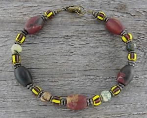【送料無料】ブレスレット アクセサリ― メンズジャスパーイエローターコイズビーズブレスレットmens rustic tribal bracelet in jasper and yellow turquoise with trade beads