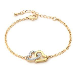 【送料無料】ブレスレット アクセサリ― スワロフスキークリスタルトーンデュアルゴールドグランプリブレスレットmyjs match heart bracelet with swarovski crystal two tone dual gold gp love