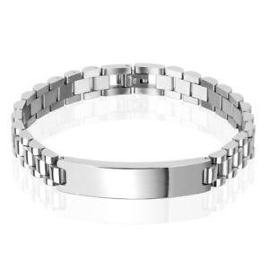 【送料無料】ブレスレット アクセサリ― ステンレススチールクラシックメンズリンクブレスレットstainless steel classic 10mm mens 85 engravable link id bracelet