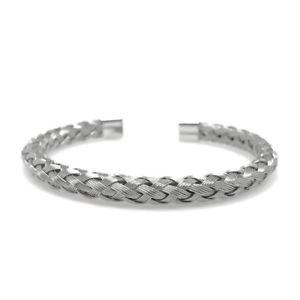 【送料無料】ブレスレット アクセサリ― ステンレススチールブレードシルバーワイヤーカフブレスレットstainless steel braided silver metal wire cuff bracelet adjustable mens womens