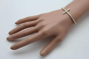 【送料無料】ブレスレット アクセサリ― チェーンファッションブレスレットクロスシルバークラシックwomen gold metal chain fashion wrist bracelet long cross silver bling classic
