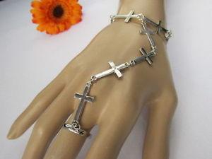 【送料無料】ブレスレット アクセサリ― ファッションブレスレットスレーブリングwomen silver metal fashion crosses charm bracelet hand chains slave ring jewelry