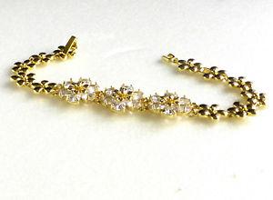 【送料無料】ブレスレット アクセサリ― kイエローゴールドメッキキュービッククリスタルブレスレットクリスマスwomen luxury 14k yellow gold plated flower cz cubic crystal bracelet xmas