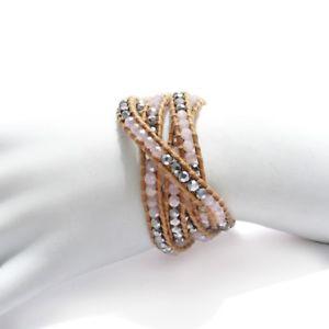 【送料無料】ブレスレット アクセサリ― ローズコーツブレスレットadjustable leather and rose quartz round beads wrap bracelet