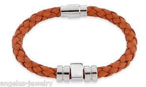 【送料無料】ブレスレット アクセサリ― ブレスレットスパイクオレンジステンレススチールalraune, leather bracelet spike , orange, 7 12in, stainless steel