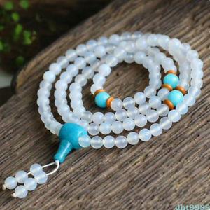 【送料無料】ブレスレット アクセサリ― ビーズブレスレット6mm natural white agate 108 buddhism bead bracelet