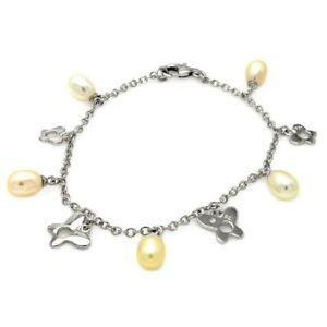 【送料無料】ブレスレット アクセサリ― ブレスレットパールsterling silver charm bracelet w pearl amp; dangling open butterflies charms