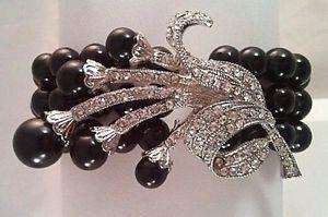 【送料無料】ブレスレット アクセサリ― ファッションジュエリーブレスレットラインストーンブラックパール