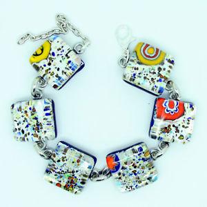 【送料無料】ブレスレット アクセサリ― シルバーヴェニスムラノガラスブレスレットbeautiful silver and multicoloured murano glass bracelet from venice