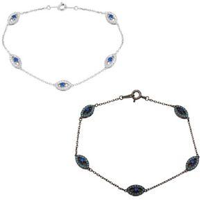【送料無料】ブレスレット アクセサリ― インチスターリングシルバーブレスレット7 inch sterling silver bracelet w cz stones evil eye charms