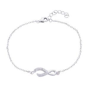 【送料無料】ブレスレット アクセサリ― スターリングシルバーリボンブレスレットsilverly 925 sterling silver cz infinity ribbon bracelet, 1725 cm