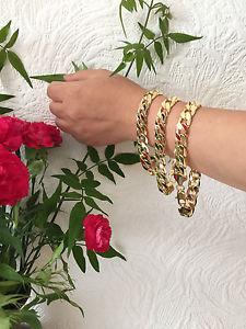 【送料無料】ブレスレット アクセサリ― kゴールドメッキブレスレットチェーン910 l 10 mm w18k gold plated no stone bracelet curb chain
