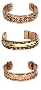 【送料無料】ブレスレット アクセサリ― カフブレスレット3 different solid copper brass magnetic cuff bracelets w therapy magnets