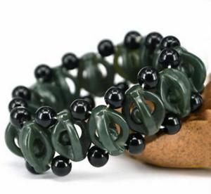【送料無料】ブレスレット アクセサリ― ダークグリーンブレスレットビーズメンズブレスレットnatural jade dark green hetian stone bracelet carved beads women mens bracelets
