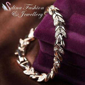 【送料無料】ブレスレット アクセサリ― 18kスワロフスキースマートブレスレット18k rose gold plated made with swarovski crystal stylish wheat sheaf bracelet