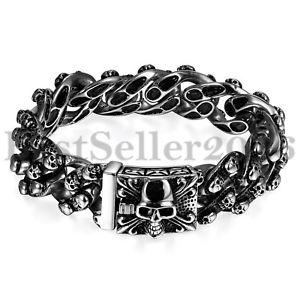【送料無料】ブレスレット アクセサリ― ステンレススチールスカルバイカーパンクブレスレット19mm wide heavy stainless steel fleur de lis skull biker men punk bracelet 846