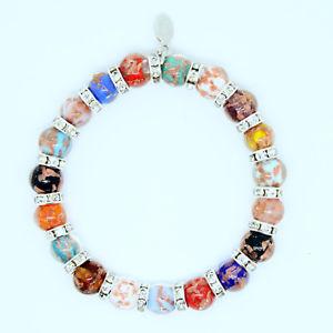 【送料無料】ブレスレット アクセサリ― ヴェニスmultiムラノガラスブレスレットbeautiful multi coloured murano crystal handmade glass bead bracelet from venice