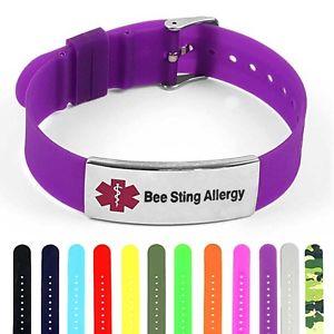 【送料無料】ブレスレット アクセサリ― シリコンポリッシュスチールタグブレスレットidtagged silicone medical alert bee sting polished steel tag id bracelet