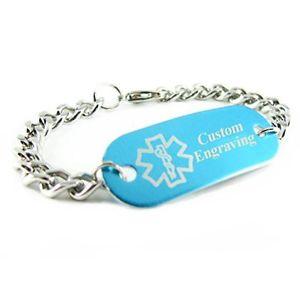 【送料無料】ブレスレット アクセサリ― カスタムブレスレットアルミニウムスチールチェーンmyiddr custom engraved medical id bracelet aluminum, steel curb chain