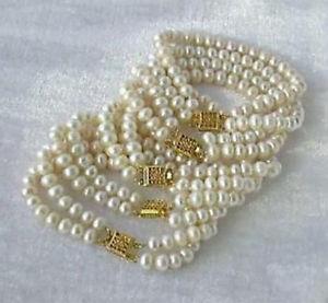 【送料無料】ブレスレット アクセサリ― ホワイトアコヤブレスレットwhole 5pc 2 row 67mm white akoya cultured pearl bracelet 75