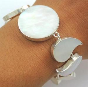 【送料無料】ブレスレット アクセサリ― 925スターリングブレスレットジュエリーsb074natural mother of pearl shell 925 sterling silver bracelet women jewelry sb074