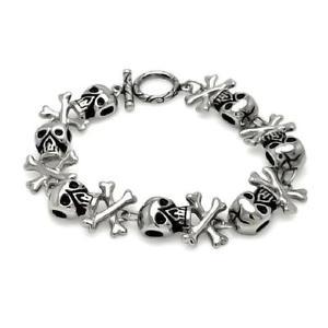 【送料無料】ブレスレット アクセサリ― ステンレススチールスカルヘッドクロスボーンリンクブレスレットstainless steel skull head cross bones link bracelet