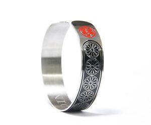 【送料無料】ブレスレット アクセサリ― カフステンレスブレスレットmedical alertl id flower cuff stainless bracelet ~ coumadin