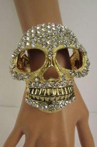 【送料無料】ブレスレット アクセサリ― スカルカフブレスレットファッションジュエリービッグスケルトンwomen gold metal large skull cuff bracelet fashion jewelry big bling skeleton