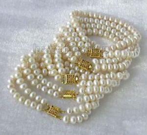【送料無料】ブレスレット アクセサリ― ホワイトアコヤブレスレットwhole 5pc white akoya cultured pearl bracelet