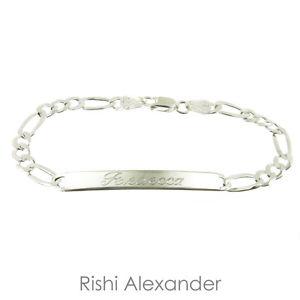 【送料無料】ブレスレット アクセサリ― 925 idフィガロブレスレットスターリング925 sterling silver adult id figaro bracelet name personalized engraved