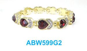【送料無料】ブレスレット アクセサリ― レッドリンクパワーdark red heart crystals women gold plated link high power magnetic bracelet