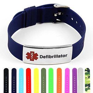 【送料無料】ブレスレット アクセサリ― シリコンスチールタグブレスレットidtagged silicone medical alert defibrillator polished steel tag id bracelet