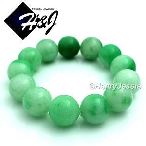 【送料無料】ブレスレット アクセサリ― 16mmボールjade bracelet*lgnatural jadeite green 16mm ball bead stretch jade bracelet*lgfree box