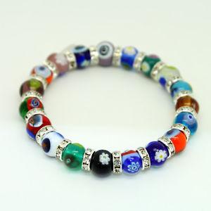 【送料無料】ブレスレット アクセサリ― マルチカラームラーノクリスタルハンドメイドヴェニスガラスビーズブレスレットbeautiful multi coloured murano crystal handmade glass bead bracelet from venice