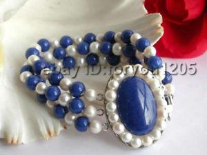 【送料無料】ブレスレット アクセサリ― ホワイトパールラピスラズリブレスレットラピス3rows natural white pearl lapis lazuli bracelet lapis