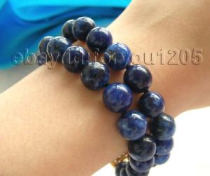 【送料無料】ブレスレット アクセサリ― 8 ダブル10mmブレスレット8 double natural 10mm round lapis lazuli bracelet