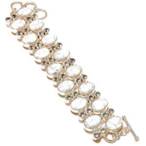 【送料無料】ブレスレット アクセサリ― クリスタルハンドメイドデザイナーリンクブレスレットwhite howlite, crystal gemstone silver plated handmade designer link bracelet