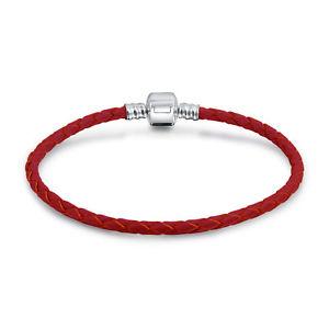 【送料無料】ブレスレット アクセサリ― ローズクリスマスレザーコードバレルクラスプブレスレットシルバーrose christmas red braided leather cord barrel clasp bracelet 925 silver
