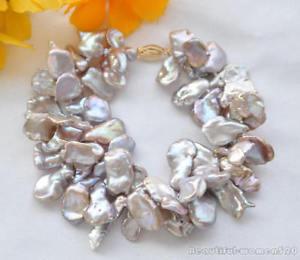 【送料無料】ブレスレット アクセサリ― ラベンダーラミナパールブレスレットインチ2strands lavender lamina keshi reborn pearl bracelet 8inchz5232