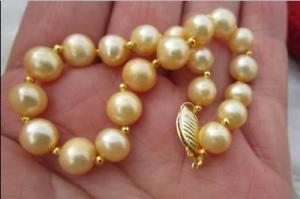 【送料無料】ブレスレット アクセサリ― サウスシーパールブレスレットaaa910mm natural golden south sea pearl bracelet 758 14k