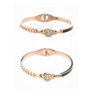 【送料無料】ブレスレット アクセサリ― クリスタルローズゴールドカラーファッションブレスレットsparkly clear crystal decor rose gold color surgical steel fashion bracelet gift