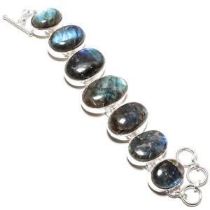 【送料無料】ブレスレット アクセサリ― カボションブレスレットshiny labradorite cabochon 70 gm gemstone jewelry bracelet ad339 8