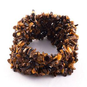 【送料無料】ブレスレット アクセサリ― ゴールデンブラウンタイガーアイカットチップビーズブレスレットgolden brown color natural tiger eye gemstone uncut chip beads stretchy bracelet