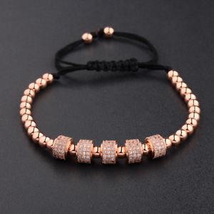 【送料無料】ブレスレット アクセサリ― ミリビーズブレスレットローズゴールドジルコンラウンドマクラメブレスレット luxury man 5mm copper beads bracelet rose gold zircon round macrame bracelet