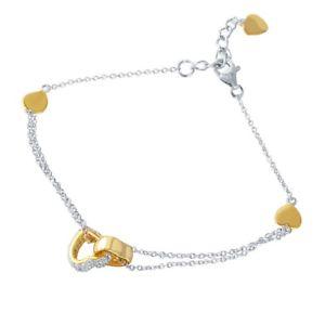 【送料無料】ブレスレット アクセサリ― スターリングシルバーイエローゴールドメッキブレスレットsterling silver yellow gold plated cz stones amp; plain heart charms bracelet