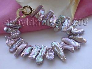 【送料無料】ブレスレット アクセサリ― パールブレスレット8 genuine natural 23mm purple biwa pearl bracelet 14k f1487