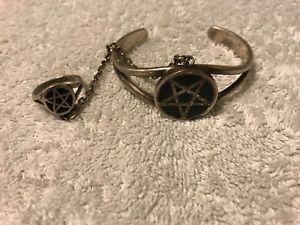 【送料無料】ブレスレット アクセサリ― ヴィンテージpentagramブレスレットvintage silver pentagram bracelet with matching chained ring