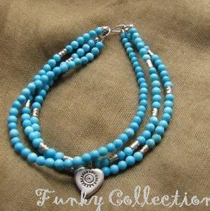 【送料無料】ブレスレット アクセサリ― ヒモターコイズタイシルバーハートチャームビーズ3 strands turquoise w thai silver heart charm amp; beads