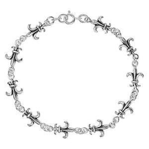 【送料無料】ブレスレット アクセサリ― リンクスターリングシルバーカジュアルブレスレットfleurdelis link 925 sterling silver casual bracelet